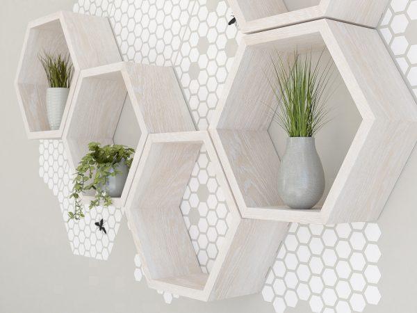 White honeycomb wall decal set for hexagon shelves hexagon shelf