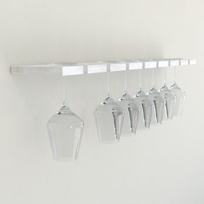 Wine glass rack rustic white painted oak wine glass rack wine glass storage glass shelves