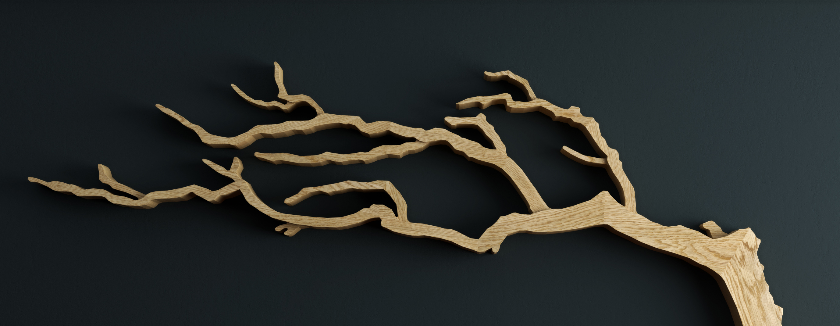 Cornish Windswept Oak Tree Shelf Parralax