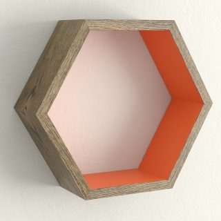 Dark oak and charlottes locks hexagon shelf
