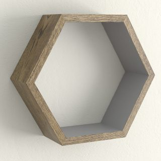 Dark oak and moles breath hexagon shelf