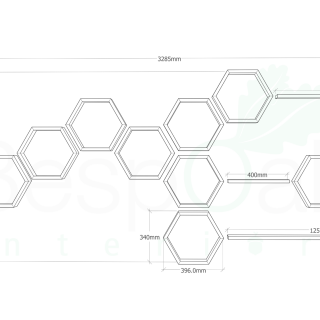 Hexagon and floating shelf layout drawing