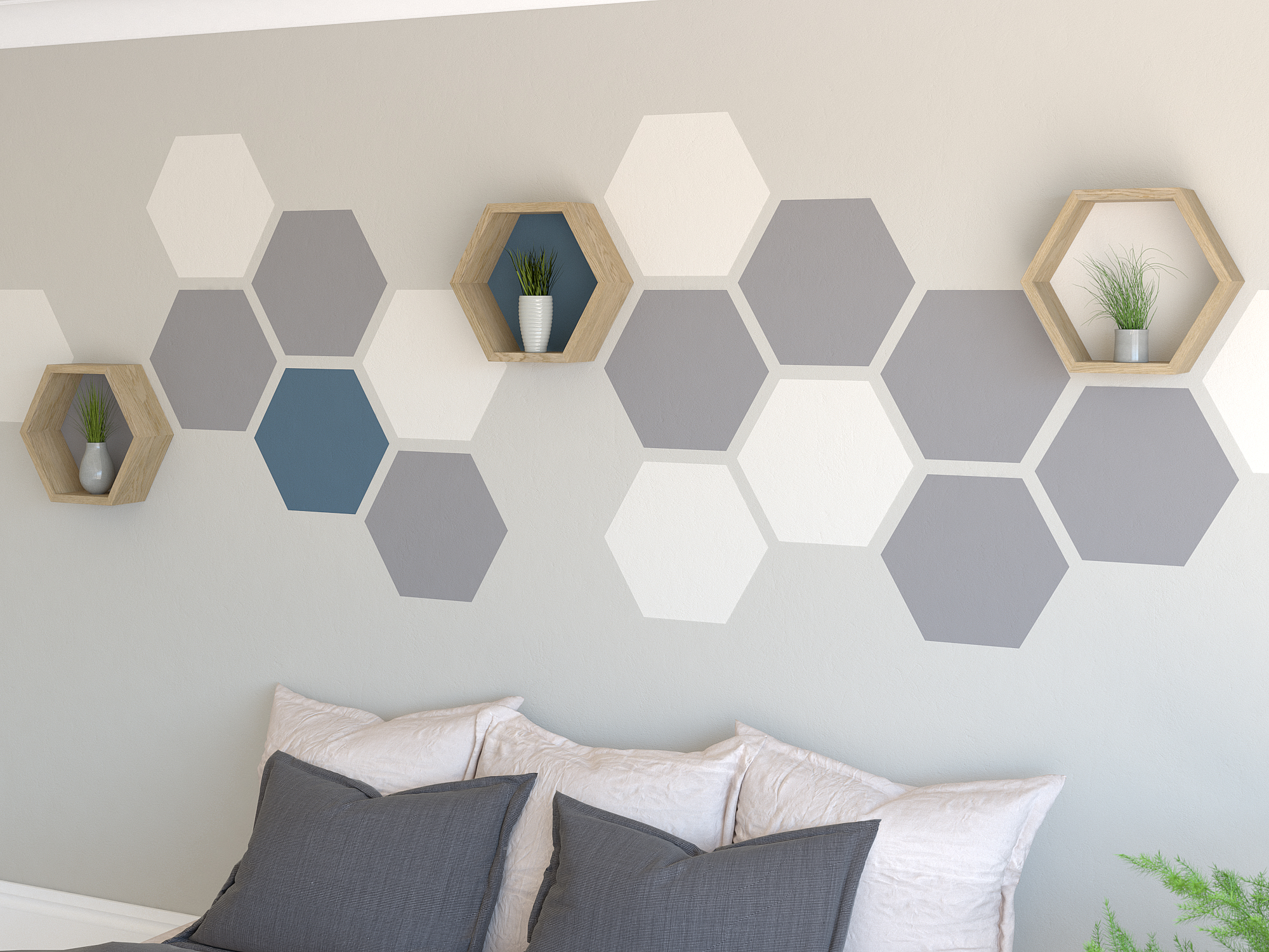 Hexagon Painted Feature Wall Accent Wall Paint Feature Wall Paint