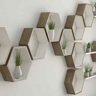 Hexagon shelf with floating shelf installation dark oak and cornforth white hexagon wall shelves