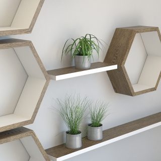 Hexagon shelves with floating shelf installation dark oak and cornforth white hexagon wall shelves