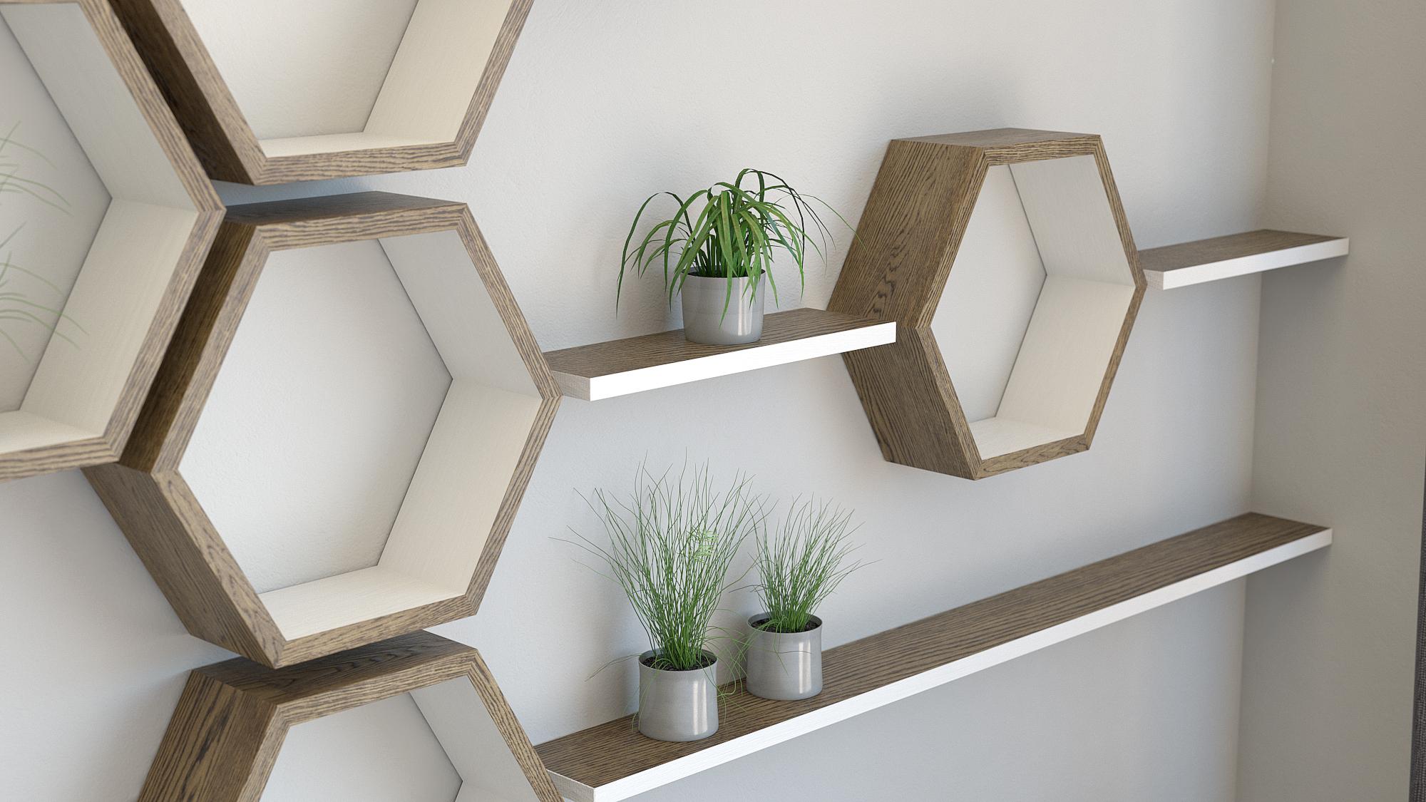 Hexagon shelves with floating shelf installation dark oak and cornforth white hexagon wall shelves 1