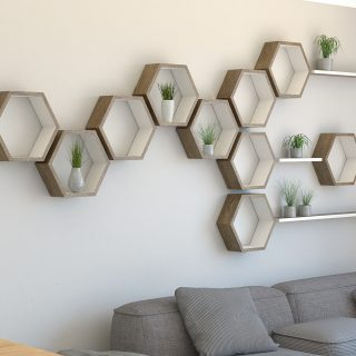 Oak floating shelf hexagon shelf with floating shelf installation dark oak and cornforth white hexagon wall shelves