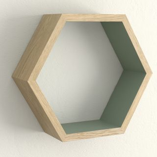 Oiled oak and card room green hexagon shelf