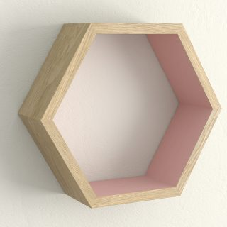 Oiled oak and cinder rose hexagon shelf