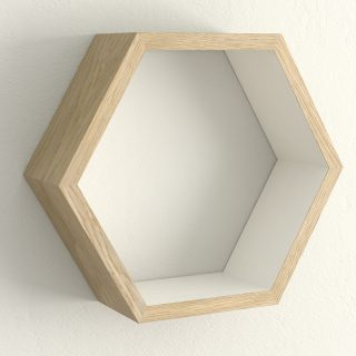 Oiled oak and cornforth white hexagon shelf