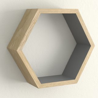 Oiled oak and downpipe hexagon shelf