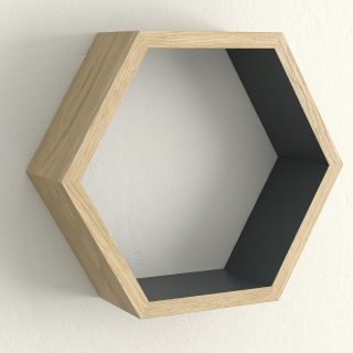 Oiled oak and hague blue hexagon shelf