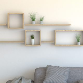 Oiled oak square floating wall shelf and rectangle shelves