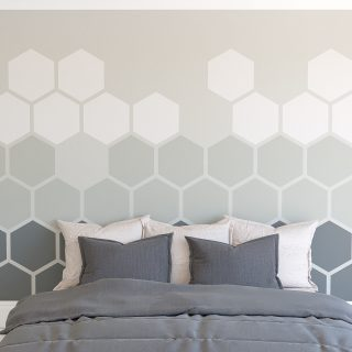 Painted gradient hexagon feature wall Farrow and Ball Downpipe Manor House Gray and Pavillion Gray mixed hexagon colour wall feature
