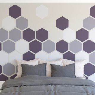 Painted hexagon feature wall Farrow and Ball Pelt Brassica and Calluna mixed hexagon colour wall feature