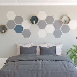 Wall feature painted hexagons on a wall how to paint a hexagon feature wall hexagon shelf