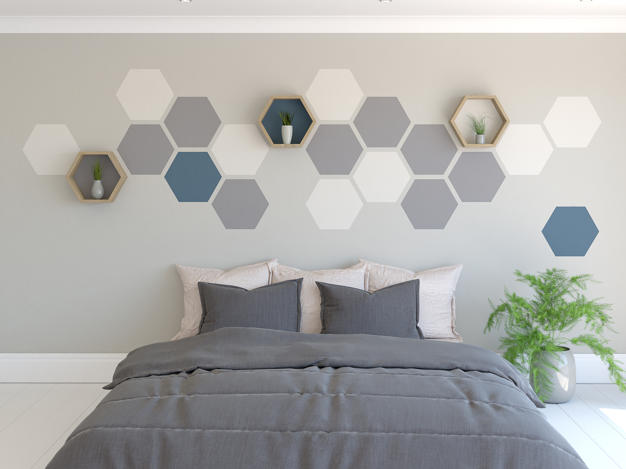Hexagon Painted Feature Wall | Accent Wall Paint | Feature ...