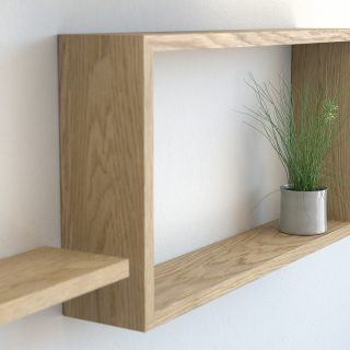 Wall shelf ideas oiled oak square floating shelf and rectangle shelves