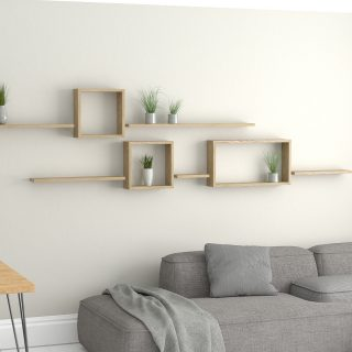 Wall shelf ideas oiled oak square floating wall shelf and rectangle shelves