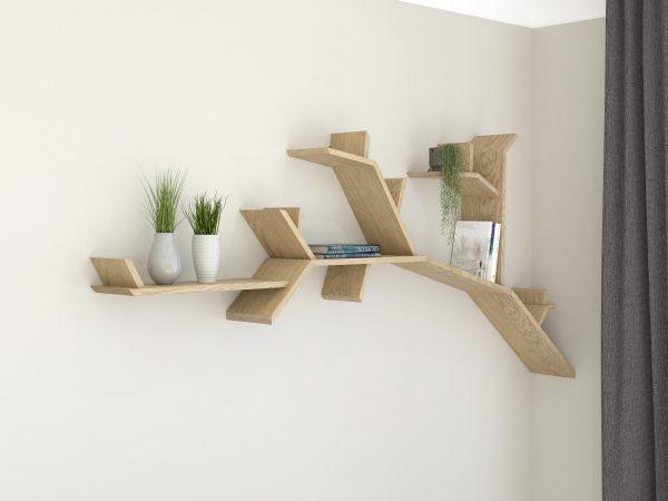 Tree Shelf Branch Solid Oak Branch Shelf by BespOak Interiors Oiled oak finish