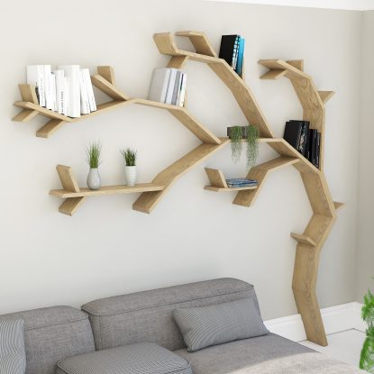 Windswept Tree Shelf Tree Bookcase by BespOak Interiors Oak Tree Shelf Unit