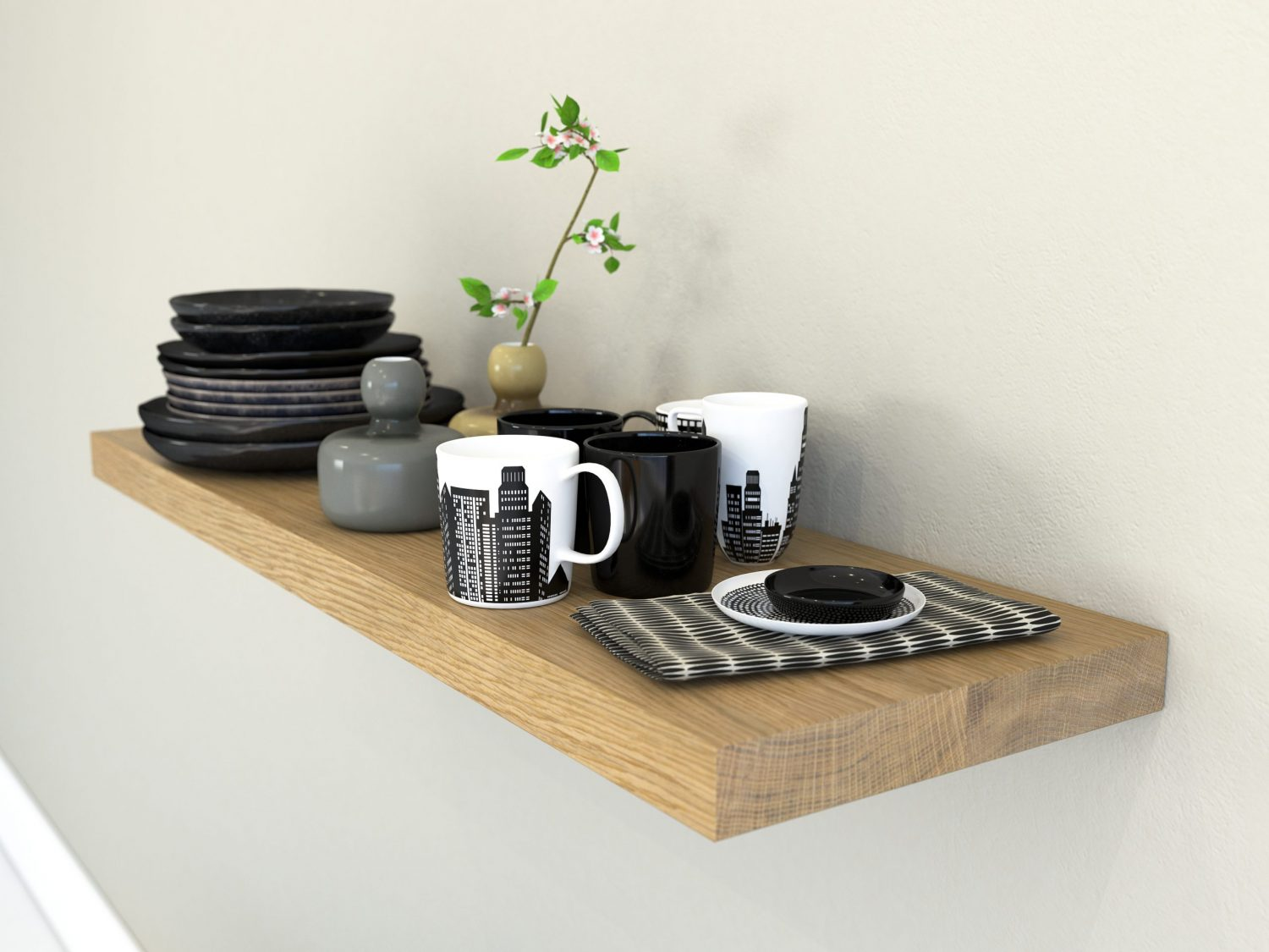Heavy duty kitchen wall shelves floating shelves solid oak floating shelf for kitchen plate shelves oiled oak finish scaled e
